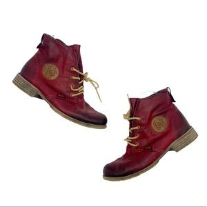 Red Leather Slouchy Rieker Ankle Booties